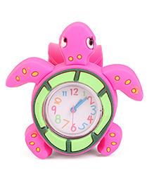 Analog Wrist Watch Tortoise Shape Dial - Pink