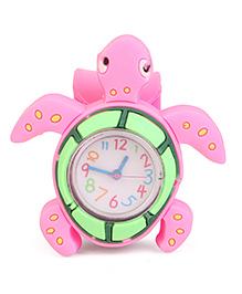 Analog Wrist Watch Tortoise Shape Dial - Dark Pink