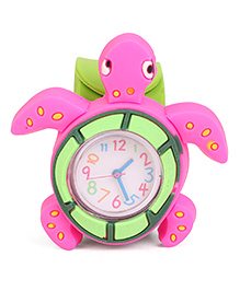 Analog Wrist Watch Tortoise Shape Dial - Pink Green
