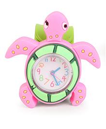 Analog Wrist Watch Tortoise Shape Dial - Green Pink
