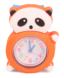 Analog Wrist Watch Panda Shape Dial - Blue Orange