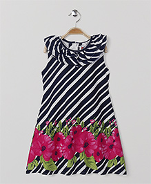 American Studio Striped Floral Dress - Black & Pink