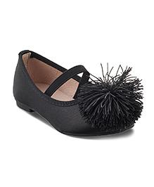 Kittens Party Wear Pom Pom Belly Shoes - Black