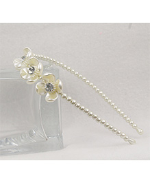 Tia Hair Accessories Elegant And Classy Pearl Hair Band With Flower - Golden