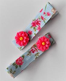 Bobbles & Scallops Resin Flower Alligator Clip Set Of 2 - Dark Pink
