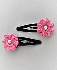 Bobbles & Scallops Puffy Crochet Flower Snap Clip Set - Light Pink