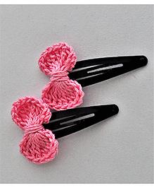 Bobbles & Scallops Big Bow Snap Clip Set - Light Pink