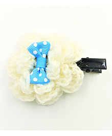 Magic Needles Flower With A Polka Bow Alligator Clip - Blue