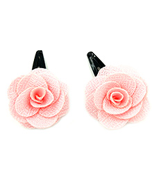 Magic Needles Tic Tac Hair Clips With Small Rose - Light Pink