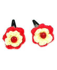 Magic Needles Tic Tac Hair Clips With Small Flowers - Red