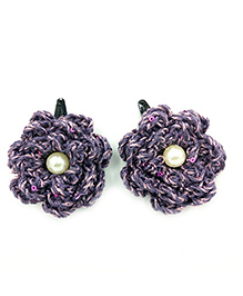 Magic Needles Tic Tac Hair Clips With Glitter Flowers - Dark Purple