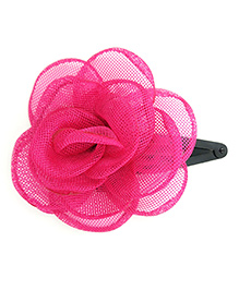 Magic Needles Tic Tac Hair Clip With Net Rose - Dark Pink