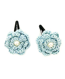 Magic Needles Tic Tac Hair Clips With Glitter Flowers - Blue