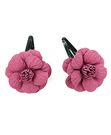 Magic Needles Tic Tac Hair Clips With Felt Rose - Pink