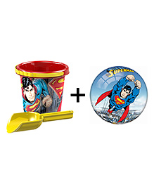 Demastil Superman Beach Set & Inflatable Ball Pack Of 3 - Red Yellow Blue