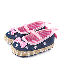 Alle Alle Shoes Style Booties Bow Applique - Blue Pink
