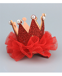 Angel Closet Princess Crown Design Hair Clip - Red