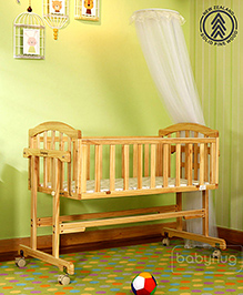 Babyhug Wooden Cradle With Mosquito Net - Natural Finish