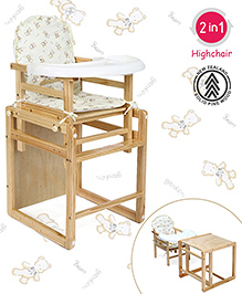 Babyhug Verona 2 In 1 Wooden High Chair - Natural Finish
