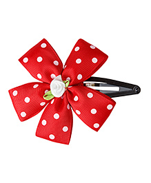 Keira'S Pretties Polka Dots Ribbon Flower Tic Tak Hair Clip - Red