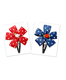 Keira'S Pretties Set Of 2 Polka Dots Ribbon Tic Tak Hair Clip - Red & Blue