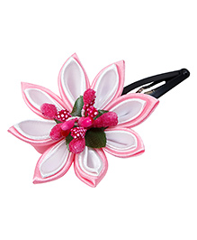 Keira'S Pretties Handmade Two Shades Kanzashi Flower Hair Clip - Pink & White