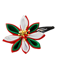 Keira'S Pretties Handmade Kanzashi Flower Hair Clip - Green Red & White