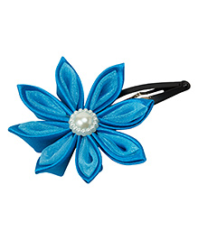 Keira'S Pretties Handmade Two Shades Kanzashi Flower Pearl Applique Hair Clip - Blue