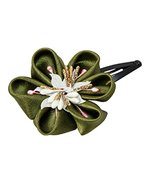 Keira'S Pretties Handmade Traditional Flower Design Hair Clip - Olive Green