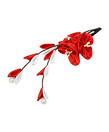 Keira'S Pretties Handmade Floral Design Pearl Applique Hair Clip - Red & White