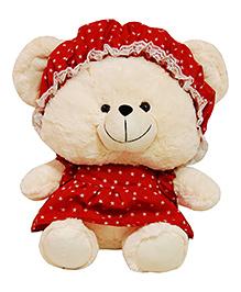 Surbhi Teddy Bear Soft Toy With Dress Cream Red - 40 Cm