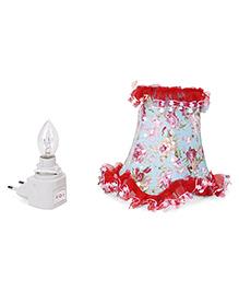 Mini Night Lamp Floral Print - White & Light Blue