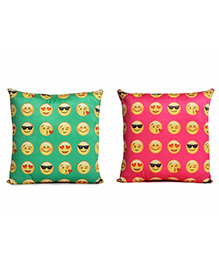 Deals India Printed Smiley Cushion Set Of 2 - Blue Pink - 1694891