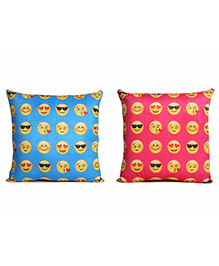 Deals India Printed Smiley Cushion Set Of 2 - Blue Pink
