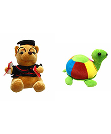 Deals India Teddy & Tortoise Soft Toys Pack Of 2 - Brown Multicolour