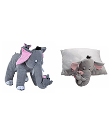 Deals India Mother Elephant With 2 Babies Soft Toy & Elephant Pillow - Grey