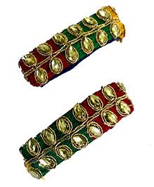 Li'll Pumpkins Stone Applique Tic Tac Hair Clip - Green And Red