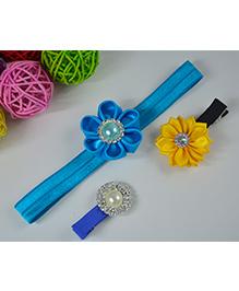 Little Miss Cuttie Set Of Headband & Hair Clips - Blue & Yellow