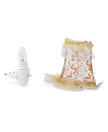 Mini Night Lamp With Embroidery - White & Yellow