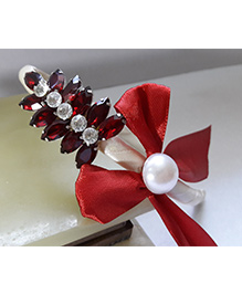 Sugarcart Hair Band With Studded Embelishment & Bow - Red
