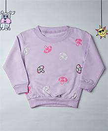 Mr Doodlekar Cute Mushroom Printed Sweatshirt - Purple