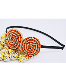 Little Tresses Partywear Double Puff Flower Hair Band - Orange