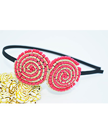 Little Tresses Partywear Double Puff Flower Hair Band - Peach