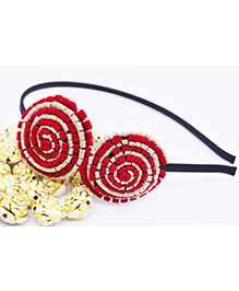 Little Tresses Partywear Double Puff Flower Hair Band - Red
