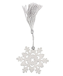 Babies Bloom Snow Flake Steel Bookmark With Tassel - Silver
