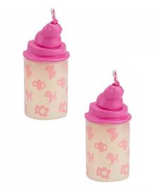 Babies Bloom Milk Bottle Shaped Candle Set Of 2 - Pink