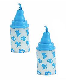 Babies Bloom Milk Bottle Shaped Candle Set Of 2 - Blue