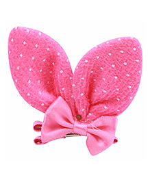 Babies Bloom Aligator Hair Bow Clip - Dark Pink White