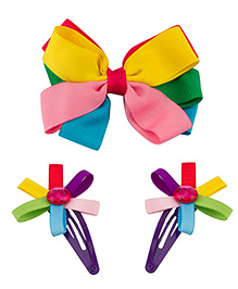 Babies Bloom Hair Bow And Clip Set - Multi Color