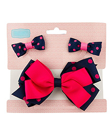 Babies Bloom Hair Bow And Clip Set - Navy Blue